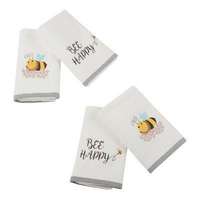 Latitude Run Bee Happy 4 Piece Hand Towel Set