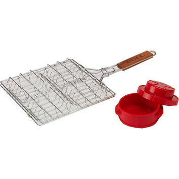 Bull Bbq Bull Outdoor Products 2 Piece Stuff a Burger Basket and Press