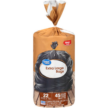 Great Value™ 45 Gallon Extra Large Twist Tie Bags 22 ct Package
