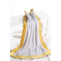 Harriet Bee Bairdstown Zigzag with Border Plush Blanket Color: Grey / Yellow