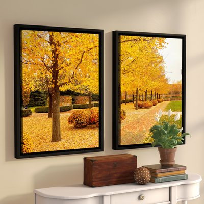 Andover Mills 'Fall Walkway' 2 Piece Framed Photographic Print Set Size: 32