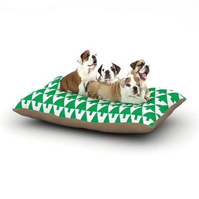 East Urban Home Gabriela Fuente 'Happy X-Mas' Illustration Geometric Dog Pillow with Fleece Cozy Top Color: Green, Size: Large (50