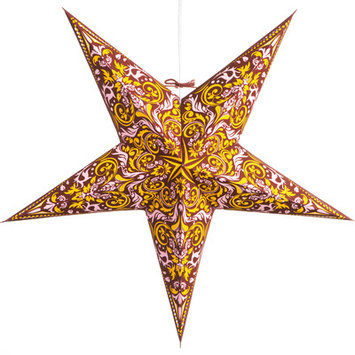 Hometownevolutioninc Fleur de Lis Paper Star Light Color: Burgundy