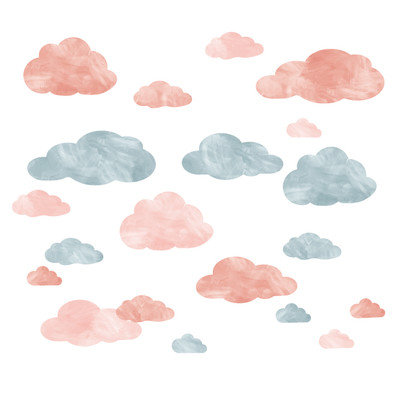 Eco Wall Decals 20 Piece Cloud Wall Decal Set Color: Blue/Pink