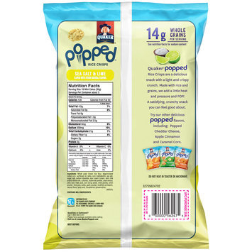 Quaker® Popped® Sea Salt & Lime Rice Crisps 3.03 oz. Bag