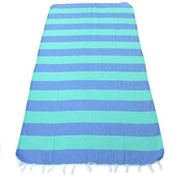 Red Pomegranate 100% Turkish Cotton Pestemal Beach Towel Color: Blue/Green