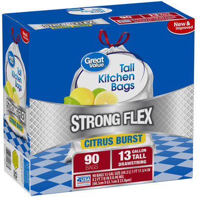 Great Value™ Flex 13 Gallon Citrus Burst Trash Bags 90 ct Box