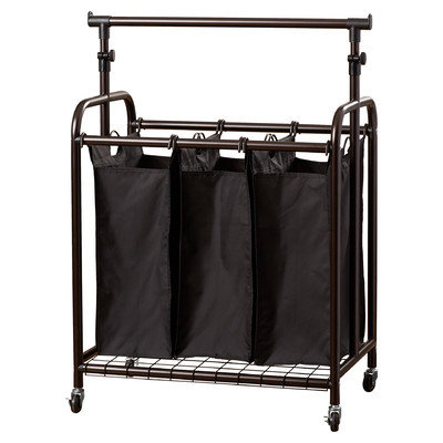 Brayden Studio 3 Bag Rolling Laundry Sorter with Adjustable Hanging Bar