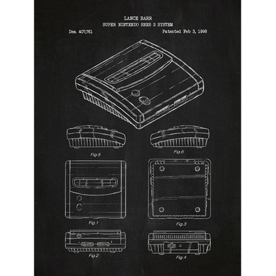 Inked And Screened Gaming 'Super Nintendo SNES 2 System' Silk Screen Print Graphic Art in Chalkboard/White Ink