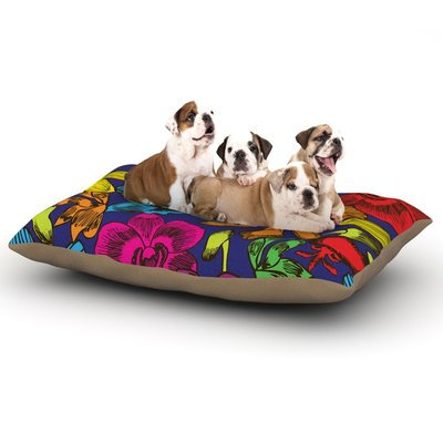 East Urban Home Yenty Jap 'Lovely Orchids' Floral Dog Pillow with Fleece Cozy Top Size: Small (40