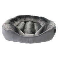 Precioustails Dream Luxurious Discharge Stripe Faux Fur Interior Square Pet Bolster Color: Gray