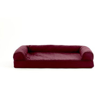 FurHaven Quilted Cooling Gel Top Sofa Pet Bed Wine Red