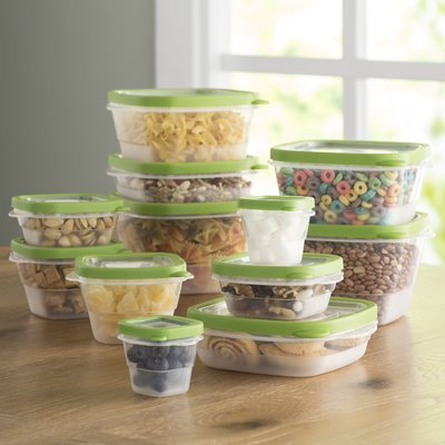 Wayfair Basics 24-Piece Plastic Food Storage Container Set Color: Green