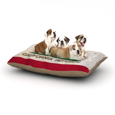 East Urban Home Bruce Stanfield 'California Flag Wood' Dog Pillow with Fleece Cozy Top Size: Large (50