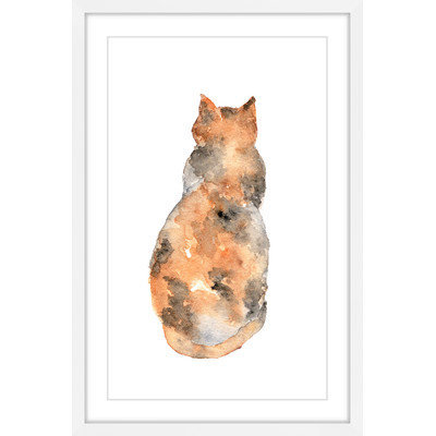 Marmont Hill Inc Marmont Hill - 'Calico Cat' by Thimble Sparrow Framed Painting Print