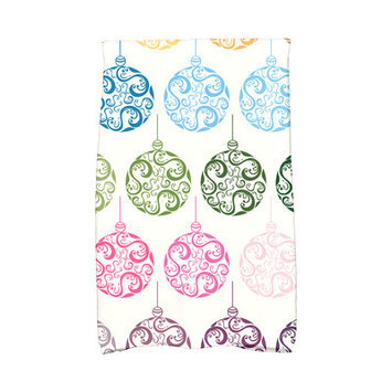 House Of Hampton Holiday Wishes Painterly Bulbs Hand Towel Color: Teal/Green/White
