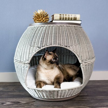 Latitude Run Deluxe Wicker End Table Cat Bed Color: Smoke