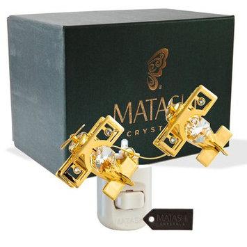 Matashicrystal 24K Gold Plated Crystal Studded Bi Planes Multi-Colored LED Night Light