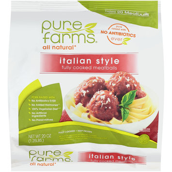 pure farms® all natural italian style fully cooked meatballs