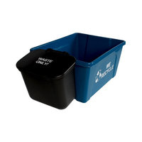 Busch Systems Office Combo Solid Lift 45 Gallon 2 Piece Recycling Bin and Waste Basket Set