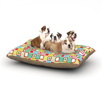 East Urban Home Julie Hamilton 'Colorful Check' Checkered Dog Pillow with Fleece Cozy Top Size: Small (40