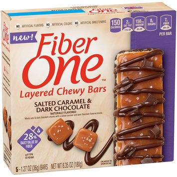 Fiber One™ Salted Caramel & Dark Chocolate Layered Chewy Bars