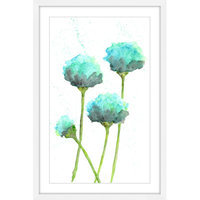 Marmont Hill Inc Marmont Hill - 'Mint Blue Poppies' by Thimble Sparrow Framed Painting Print