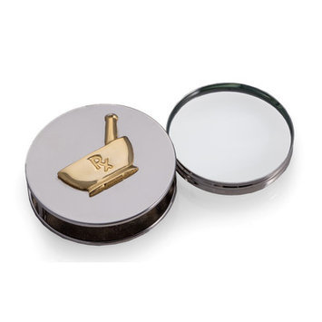 Bey-berk Pharmacy, Chrome Plated Magnifying Glass / Paperweight