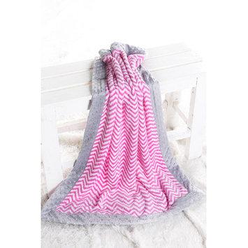 Harriet Bee Bairdstown Zigzag with Border Plush Blanket Color: Bright Pink / Grey