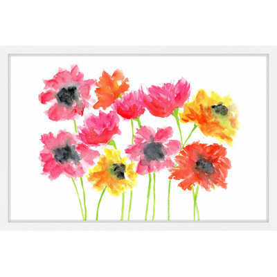 Marmont Hill Inc Marmont Hill - 'Bold Zinnias' by Thimble Sparrow Framed Painting Print