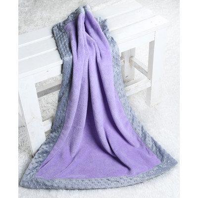 Harriet Bee Bakker Solid with Border Plush Blanket Color: Lilac / Grey