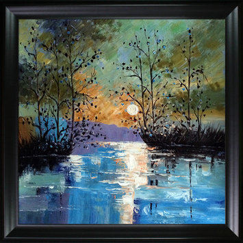 Tori Home River with Glowing Moon by Justyna Kopania Framed Oil Reproduction