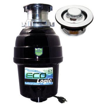 Joneca Corporation 3/4 HP Eco-Logic 9 Deluxe Designer Series Food Waste Disposer (3-Bolt) with Polished Chrome Sink Flange