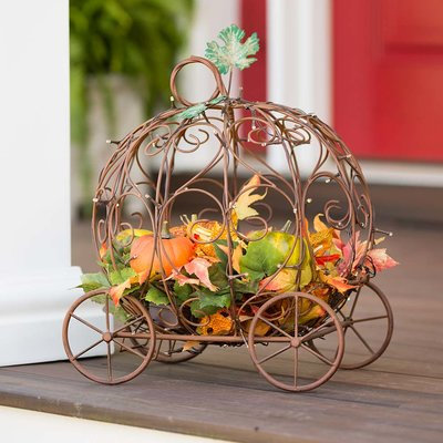 Plow & Hearth Decorative Lighted Pumpkin Carriage