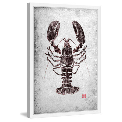 Marmont Hill Inc Marmont Hill - 'Maine Lobster' by Dwight Hwang Framed Painting Print