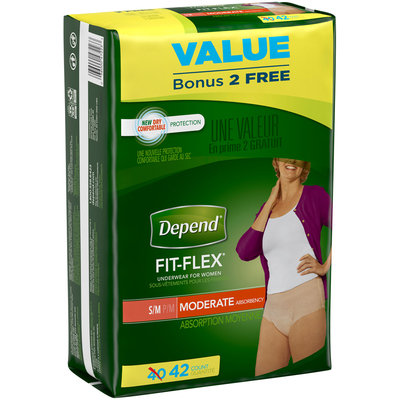 Depend Fit-Flex Incontinence Underwear for Women, Moderate Absorbency, S/M 42 ct Pack