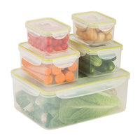 Honey Can Do Honey-Can-Do KCH-03831 Food Containers Snap-lock 5 Piece Set, clear