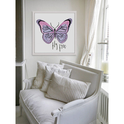Marmont Hill Inc Marmont Hill - 'Lavender Butterfly Text' by Molly Rosner Framed Painting Print