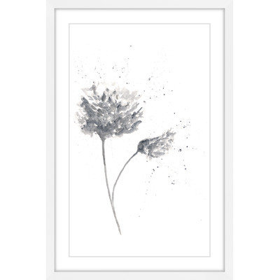 Marmont Hill Inc Marmont Hill - 'Black and White Peony' by Thimble Sparrow Framed Painting Print