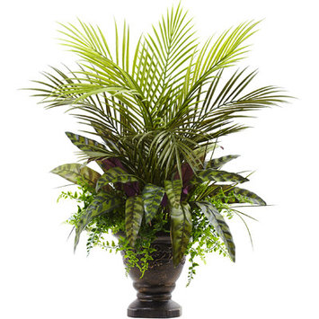 Fleur De Lis Living Mixed Areca Palm, Fern and Peacock Plant in Planter