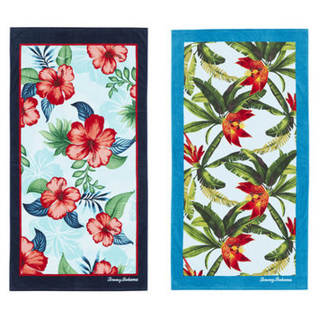 Tommy Bahama Seaside Hibiscus and Tropical Swim 2 Piece Beach Towel Set
