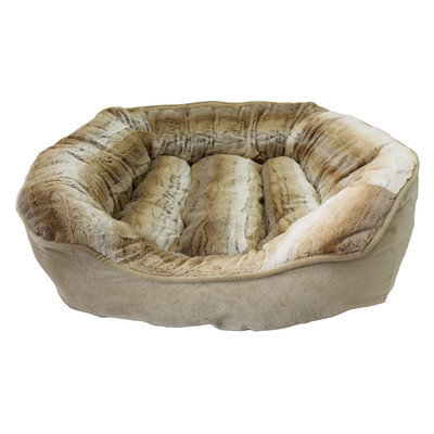 Precioustails Dream Luxurious Discharge Stripe Faux Fur Interior Square Pet Bolster Color: Camel Beige