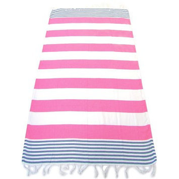 Red Pomegranate 100% Turkish Cotton Pestemal Beach Towel Color: Pink/Blue