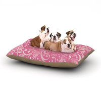 East Urban Home Heidi Jennings 'Too Much Pink' Magenta Floral Dog Pillow with Fleece Cozy Top Size: Large (50
