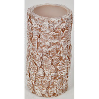 Loon Peak Led Bark Pillar Candle (Set of 2) Color: White, Size: 4