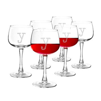 Latitude Run Metz Personalized 13 Oz. Red Wine Glass Letter: Y