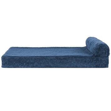Zoey Tails Faux Fleece and Corduroy Dog Sofa Color: Navy Blue, Size: Extra Large (44