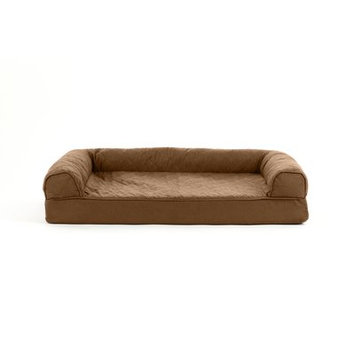 FurHaven Quilted Cooling Gel Top Sofa Pet Bed Warm Brown