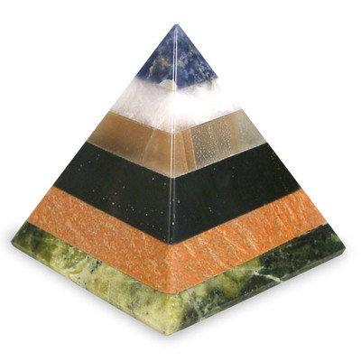 Novica Natural Energy Gemstone Pyramid Sculpture