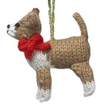 Arcadia Home OAChih Hand Knit Chihuahua Christmas Ornament, Brown, Set of 2